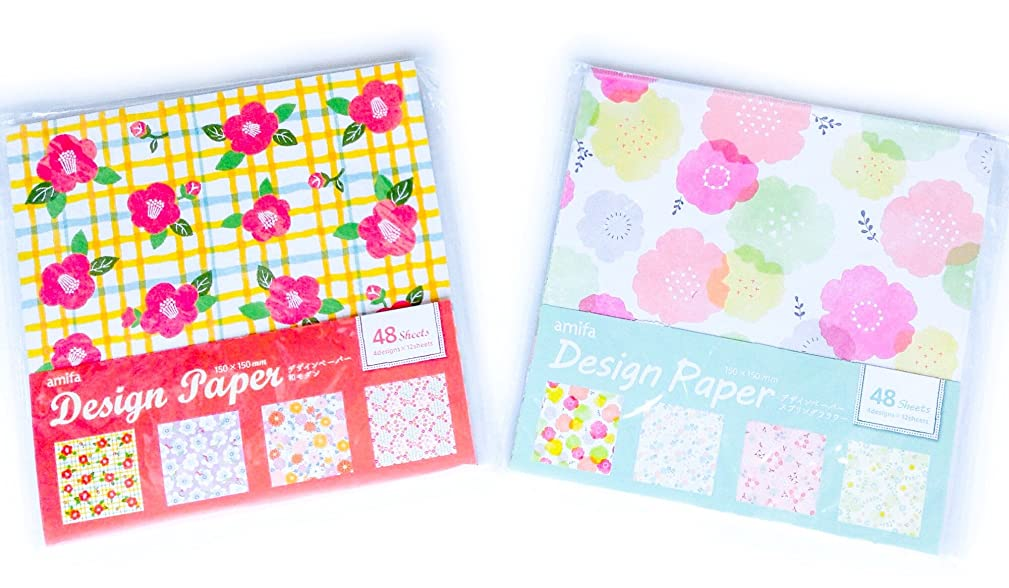 Origami Paper Folding Paper DIY Gift Wrapping Scrapbooking, Spring Flower and Japanese Pattern Flower 5.9