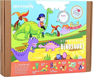 jackinthebox Dinosaur Themed Craft Kit and Educational Toy for Boys and Girls | 6 Activities-in-1 Kit | Great Gift for Kids Aged 5 to 8 Years Old | Learning Stem Toys (Dinosaur 6-in-1)