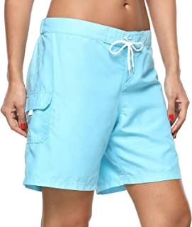 Vegatos Women's Long Board Shorts Quick Dry Swim Shorts High Waist Beach Bottoms