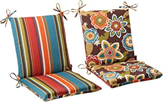 Pillow Perfect Outdoor Annie Westport Reversible Squared Chair Cushion, Chocolate
