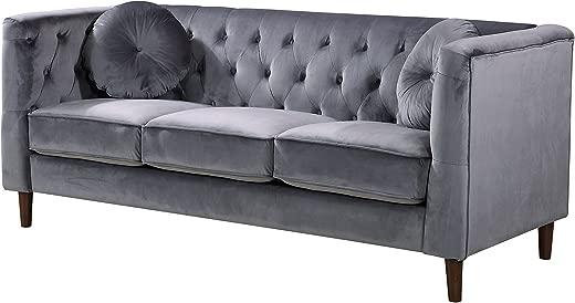 B07F214LKH✅Container Furniture Direct S5374-S Kitts Velvet Upholstered Modern Chesterfield Sofa, Gray