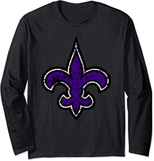 Fleur de Lis Purple Distressed New Orleans Mardi Gras Long Sleeve T-Shirt