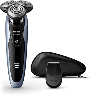 Philips Shaver Series 9000 Wet and Dry Electric Shaver with V-Track Blade System Pro & SmartClick Precision Trimmer, Black/Ceres, S9211/12