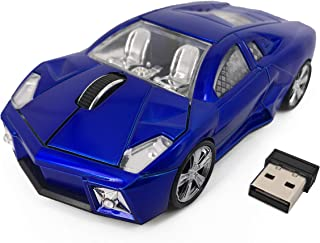 Computer Mouse Blue Lamborghini Sports Car 2.4Ghz Wireless Optical Gaming Mouse, 3 Buttons 1600DPI USB Receiver for Mac, P...