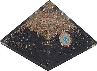 Crocon Black Tourmaline Orgone Pyramid with 4 Copper Springs & Flower of Life Symbol for Crystal Energy Generator Reiki Healing Balancing Chakra Meditation Spiritual Gift Decor Size: 2.5-3Inch