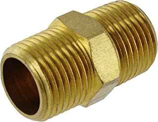 Ram-Pro Pipe Thread Brass Hex Nipple Pipe Connection NPT Threaded Pipe Fitting Reducer Adapter Tube Fitting Brass Pipe Fitting Quick Connect Disconnect Nipple for Appliance