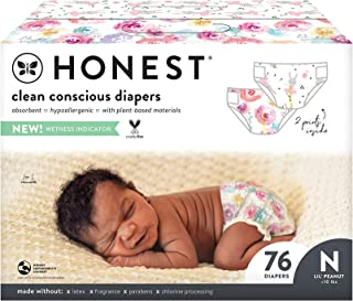 The Honest Company, Club Box, Clean Conscious Diapers, Rose Blossom + Tutu Cute, Size 0 Newborn, 76 Count