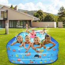 Sponsored Ad – Inflatable Family Swimming Pool, Blue Rectangular Full-Sized Lounge Pool for Baby, Kiddie, Kids, Adult, Inf...