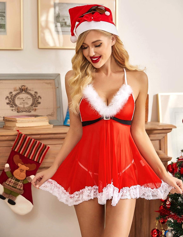 Avidlove Womens Christmas Lingerie Red Santa Babydolls Chemises Set