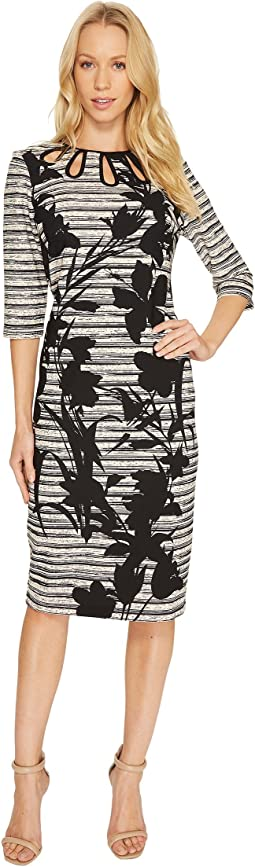 Rachelle 3/4 Sleeve Printed Dress with Neck Detail
