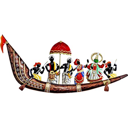 Craftowl Emboss Nature Painting Designer Musician On Ship Large Wall Hanging Showpiece Figurine Rajasthani Gift Home Decor 36x14x1.5 Inch, Multicolor