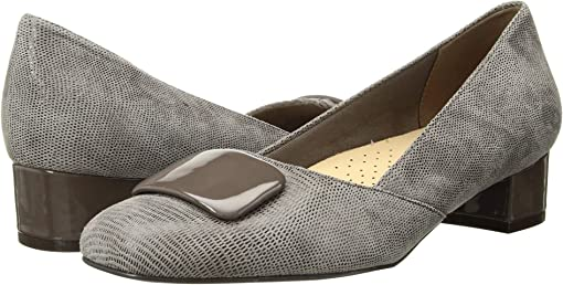 Taupe Soft Lizard Embossed Patent Suede Leather