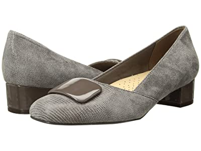 Trotters Delse (Taupe Soft Lizard Embossed Patent Suede Leather) Women
