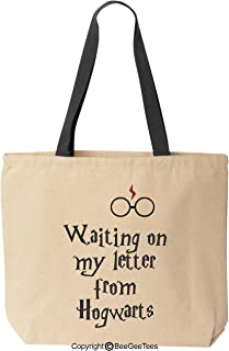 BeeGeeTees Waiting On My Letter from h0gwarts Canvas Tote Funny Wizard Reusable Bag