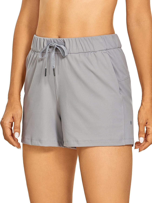 CRZ YOGA Women's Stretch Lightweight Athletic Shorts Elastic Waist Drawstring Travel Workout Shorts with Pockets - 2.5