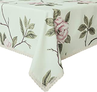 Decorative Floral Print Polyester Rectangle Tablecloth Waterproof Fabric Lace Table cloth, Table cover For Dining Room and Party (60x84-Inch, Pale Green)