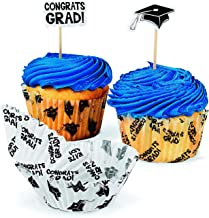 1 X Congrats Grad Cupcake Liners and Picks by Fun Express,White, Black,1 - Pack