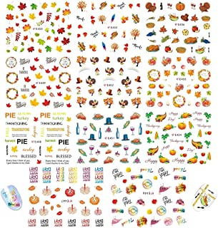 Fall Nail Art Stickers 11 Sheets Thanksgiving Day Autumn Nail Decals Include Maple Leaves, Pumpkin, Strong Turkey Pattern Designs Set for DIY Manicure Tip Wraps Decorations Supplies