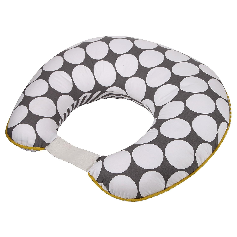 Bacati - Dots/pin Stripes Grey/Yellow Nursing Pillow Cover