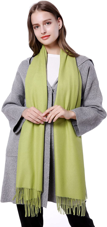JAKY-Global Pashmina Schal oder Überwurf Kaschmir-schal für Damen Herren super weich warm, 198 cm x 68 cm als Männerschal oder Damenschal Gras-gr¨¹n