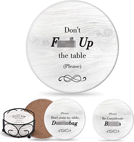 Funny Coasters for Drinks with Holder - Absorbent Drink Coasters Set 6 Pcs - 3 Sayings - Housewarming Gifts for Friends - Men, Women Birthday - Cool Home Decor - Living Room, Kitchen, Bar Decorations product image