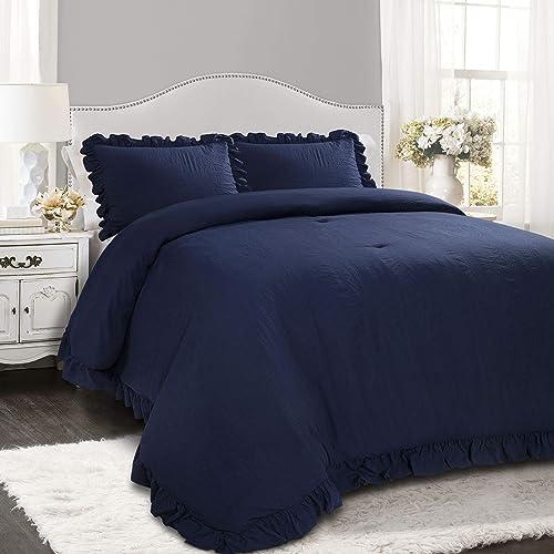 Lush Decor Navy Reyna Comforter Ruffled 3 Piece Set with Pillow Sham Full Queen Size Bedding