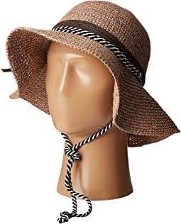 RHM6008 Crochet Raffia Striped Chin Hat