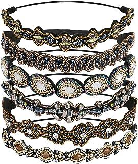 Globalstore 6 Pcs Rhinestone Headband for Women, Fashionable Handmade Crystal Diamond Beaded Elastic Hairbands Lady Women ...