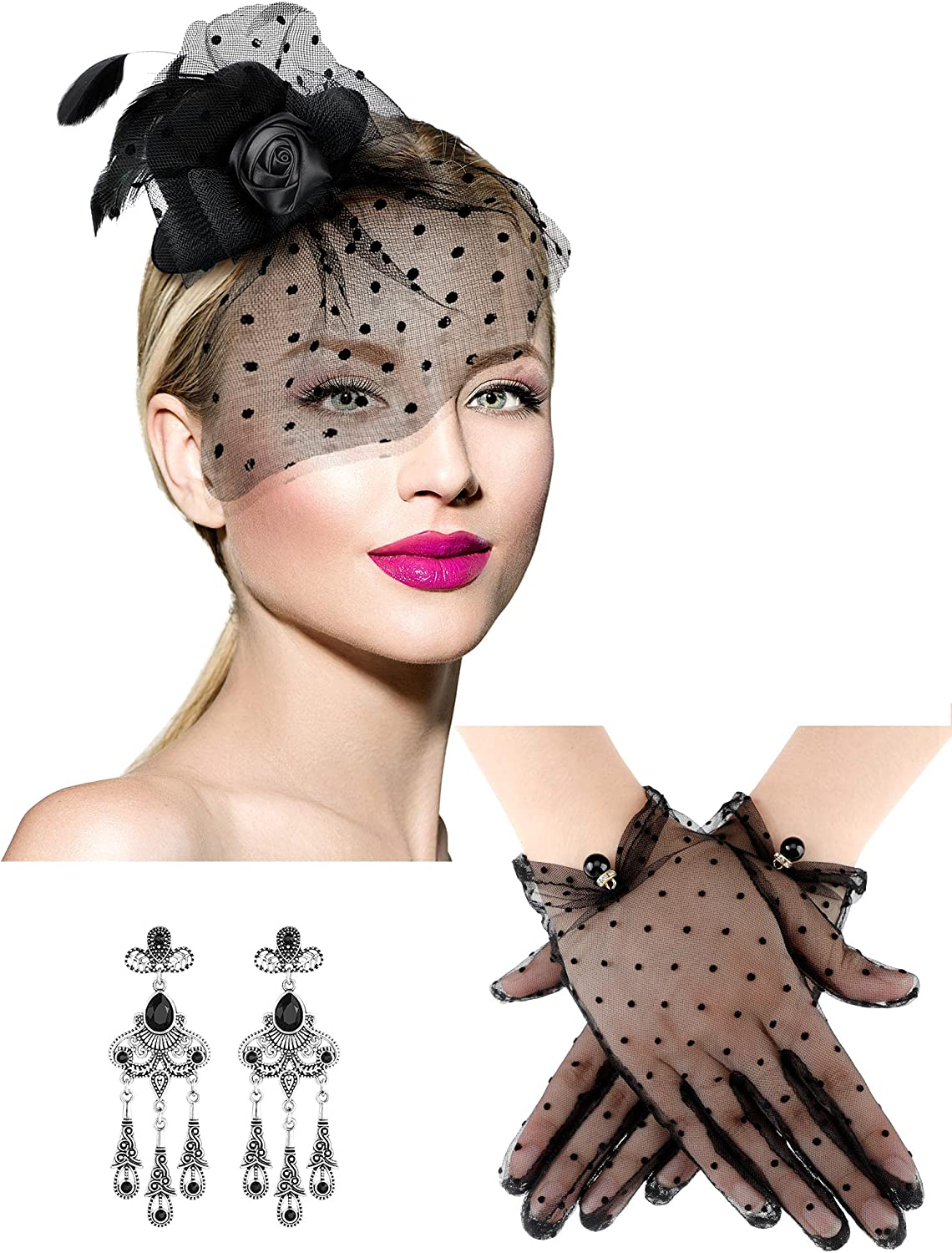3 Pcs Fascinators Hat Flower Feathers Veil Mesh Tea Party Pillbox Hat Retro Crystal Earrings Lace Mesh Dot Gloves Wedding Party Cocktail Halloween Cosplay for Women Girls