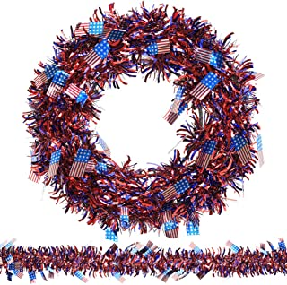 N&T NIETING Patriotic Wreath, 15Inch American Flag Tinsel Wreath with 45ft Tinsel Garland for Independence Day Decorations, Front Door Wreath for Forth of July, Memorial Day Wreath (Flag)