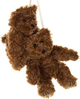 2 Pack of Brown Teddy Bear Crib Mobile Attachments | Hanging Plush Animal Decorations for Baby Girl or Boy Playpen or Crib | Accessories for Use with Mobile Hanger Sold Separately
