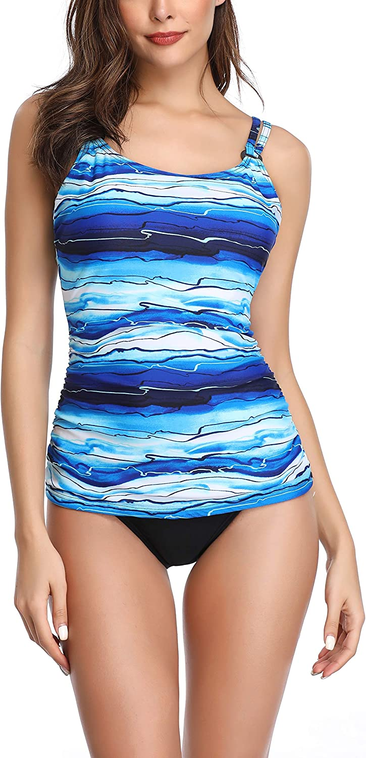 Sands'Coast Women's Print 2 Piece Swimsuit Crisscross Back Tankinis Tankini Swimwear Set