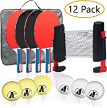 A+ Athletics Portable Table Tennis Set with 4 Premium Paddles, 6 Balls, Portable Elite Grip Ping Pong Net, and to-Go Compact Carry Bag