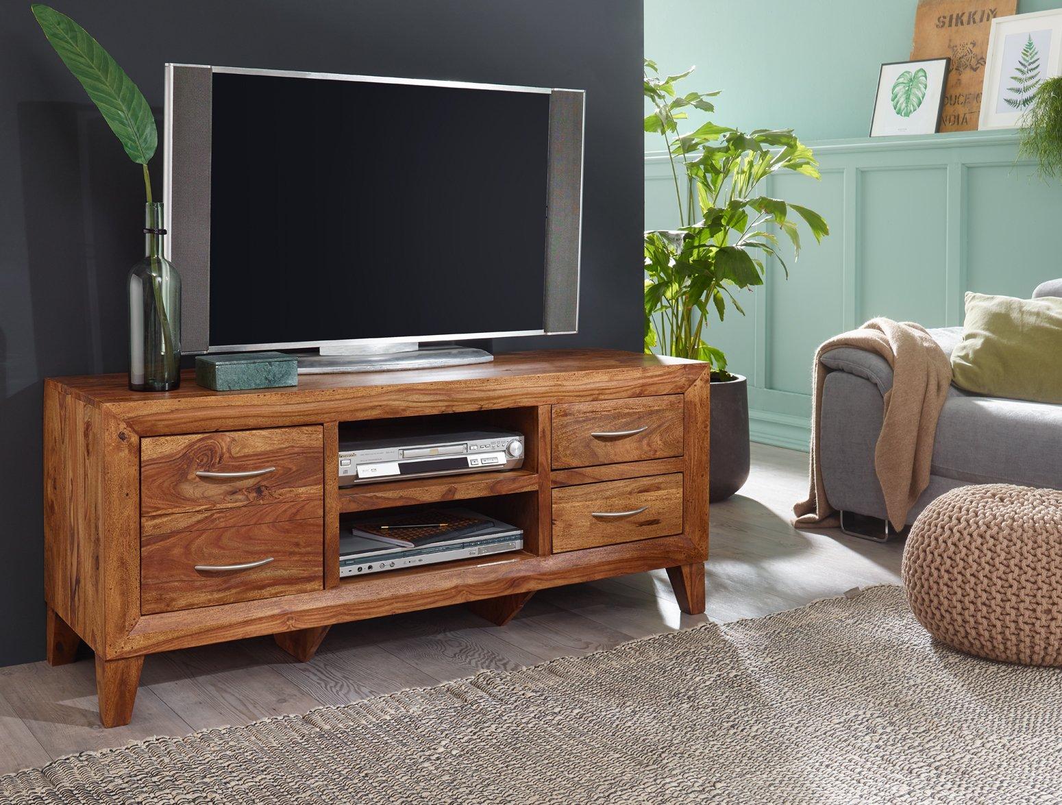 FineBuy mueble madera sheesham – Cómoda 135 cm TV tarjeta estante ...