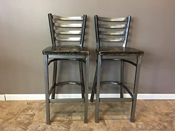 Reclaimed Wood Seat Bar Stool Set Of 2 With Gun Metal Gray Ladder Back Metal Frame Restaurant Grade High Quality 30 Inch High Barstool