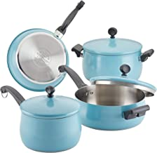 Farberware 120 Limited Edition Stainless Steel Cookware Pots and Pans Set with Kitchen Tools, 10 Piece, Aqua Blue