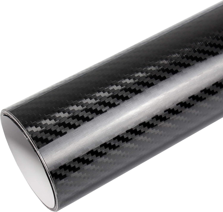 Tiptopcarbon 16 45 M 5d Carbon Folie Super Glanz Autofolie Schwarz Hochglanz Blasenfrei 3m X 1 52m Mit Luftkanäle Küche Haushalt