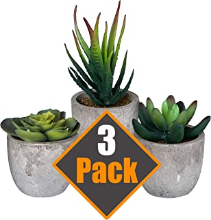 Artificial Succulent Plants with Cement-Like Pots (3 Piece) Realistic Greenery Mini Potted Faux Plant Arrangements | Home Décor, Office, Dorm Room, Bathroom or Restroom, Kitchen Table Centerpieces