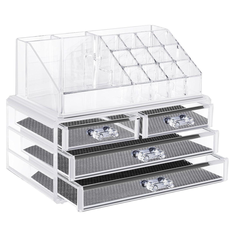 ハーフ成長する判定Neewer ジュエリーと化粧品収納ボックス 化粧パレット収納引き出し 仕切り 透明なアクリル製