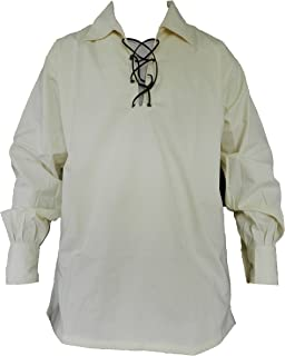 Men's Long Sleeve Shirt, Jacobite Ghillie Shirt for Kilts, w/Leather Tie