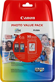Canon PG-540XL/CL-541XL Cartuccia Originale Getto d'Inchiostro a Resa Elevata, 2 Pezzi, Nero/Colore + 50 Fogli di Carta Fo...