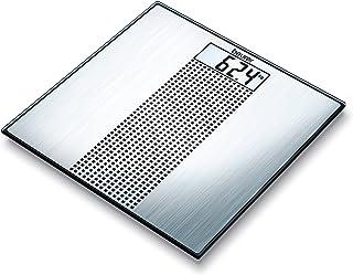 Beurer GS 36 - Báscula de baño de vidrio, ultra plana, color plateado y negro