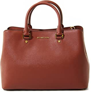 5e3b3e558892 MICHAEL Michael Kors Womens Savannah Leather Satchel Handbag Red Large
