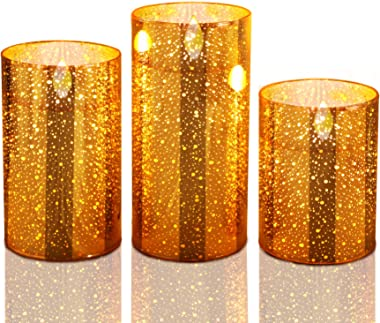 Flameless Candles Flickering, Golden LED Flameless Candles Battery Operated Pillar Candle Moving Effect Home Decoration,4 5 6