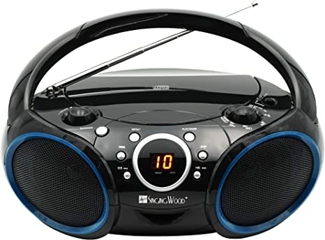 SINGING WOOD 030C Portable CD Player AM FM Analog Tuning Radio with Aux Line in, Headphone Jack, Foldable Carrying Handle (Black with a Touch of Blue Rims)