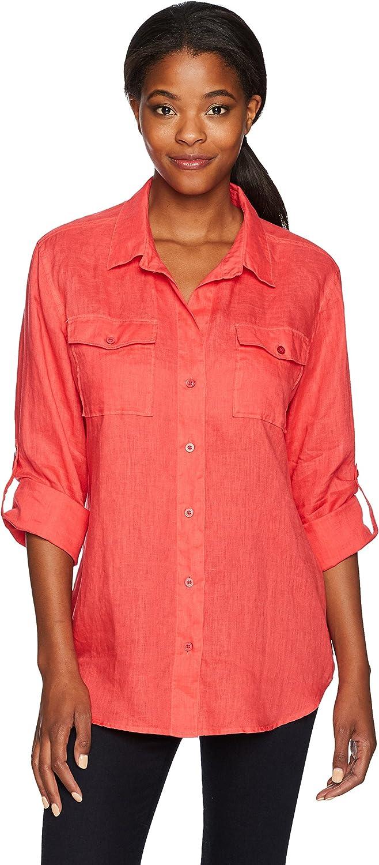 Margaritaville Womens Long Sleeve Easy Linen Shirt Shirt