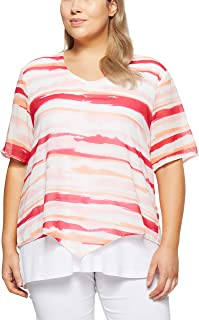 My Size Women Peachy Striped Cape Top
