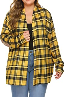 Women Plus Size Cardigans Plaid Cardigan Long Sleeve Open Front Sweater Cardigan with Pockets