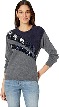 Crew Neck Eyelash Sweater w/ Sequin Detail