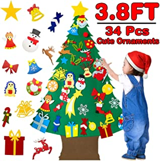 3.8ft Felt Christmas Tree Set for Kids Toddlers with 34pcs Detachable Ornaments Wall Hanging Christmas Tree Decorations DIY Xmas New Year Gifts